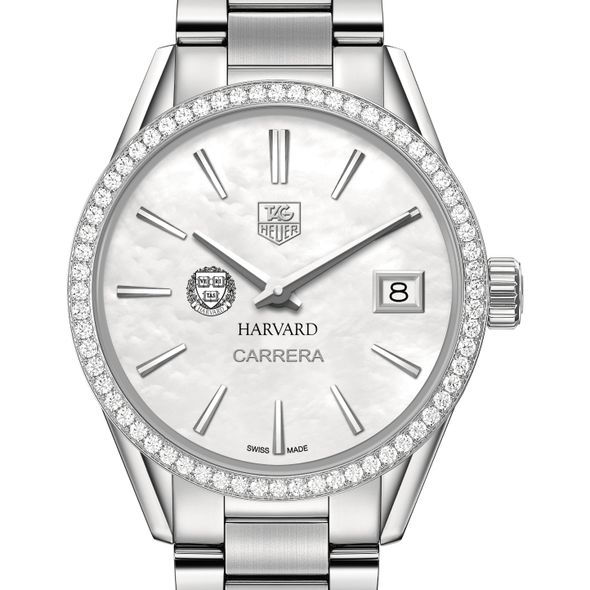 Harvard University Women's TAG Heuer Steel Carrera with MOP Dial & Diamond Bezel