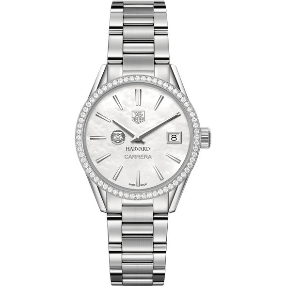 Harvard University Women's TAG Heuer Steel Carrera with MOP Dial & Diamond Bezel - Image 2