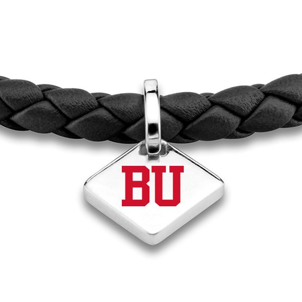 Boston University Leather Bracelet with Sterling Silver Tag - Black - Image 2