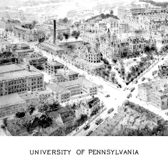 Historic University of Pennsylvania Black and White Print - Image 2