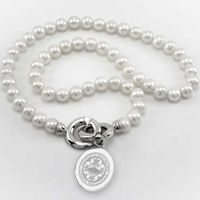 Boston University Pearl Necklace with Sterling Silver Charm