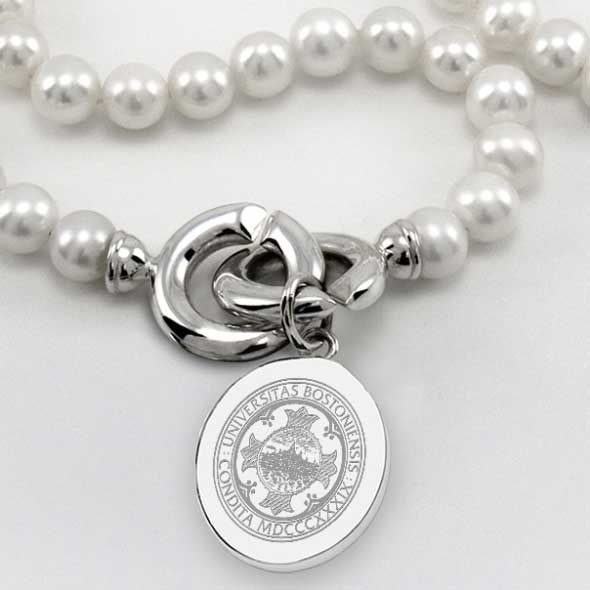 Boston University Pearl Necklace with Sterling Silver Charm - Image 2