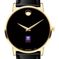 New York University Men's Movado Gold Museum Classic Leather