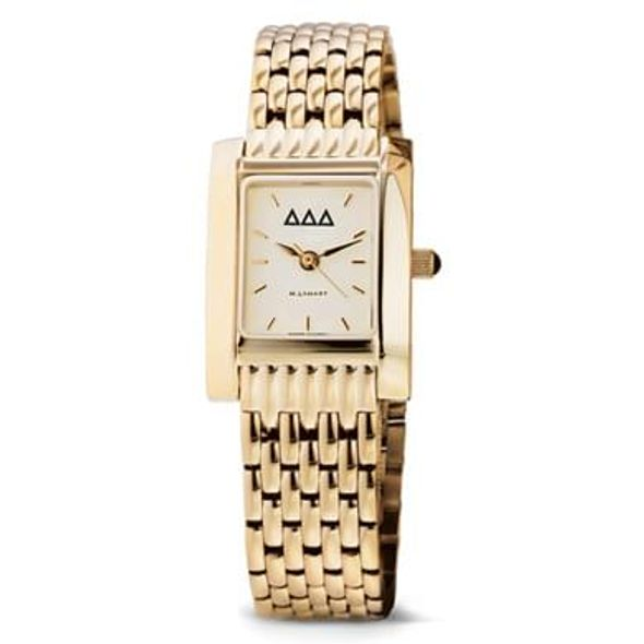 Delta Delta Delta Women's Gold Quad Watch with Bracelet - Image 1