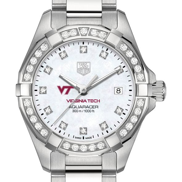 Virginia Tech W's TAG Heuer Steel Aquaracer with MOP Dia Dial & Bezel