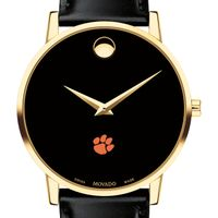 Clemson Men's Movado Gold Museum Classic Leather