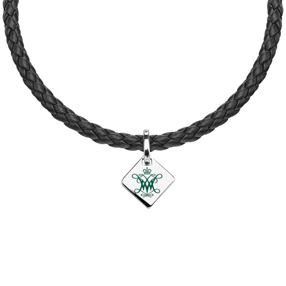 College of William & Mary Leather Necklace with Sterling Silver Tag