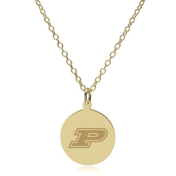 Purdue University 18K Gold Pendant & Chain - Image 2