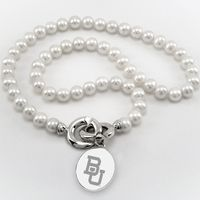 Baylor Pearl Necklace with Sterling Silver Charm