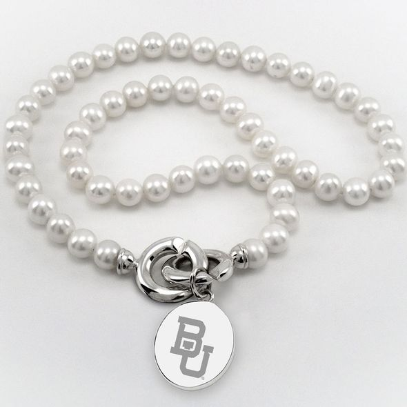 Baylor Pearl Necklace with Sterling Silver Charm - Image 1