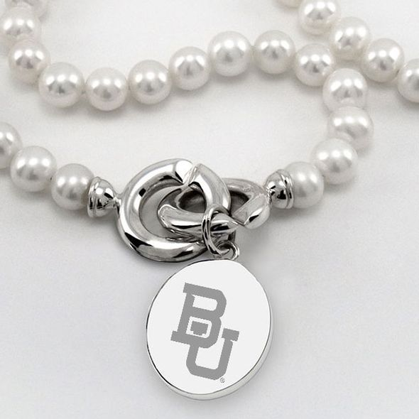 Baylor Pearl Necklace with Sterling Silver Charm - Image 2