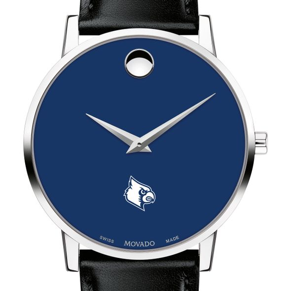 University of Louisville Men's Movado Museum with Blue Dial & Leather Strap