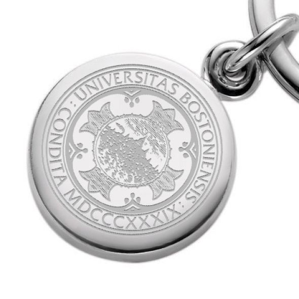 Boston University Sterling Silver Insignia Key Ring - Image 2