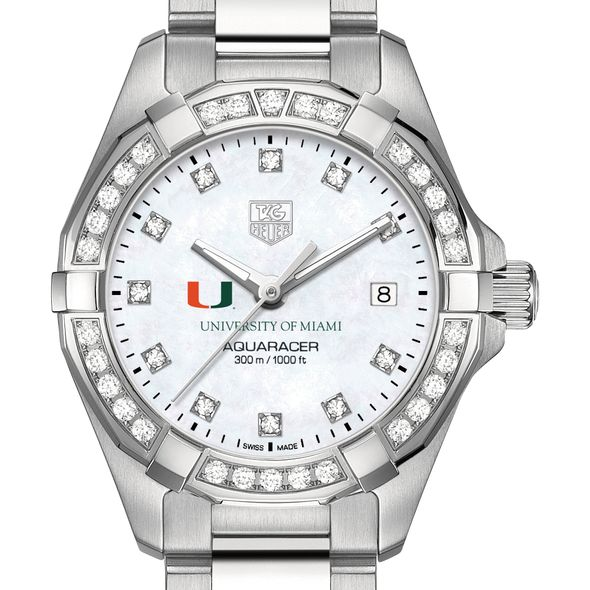 University of Miami W's TAG Heuer Steel Aquaracer with MOP Dia Dial & Bezel