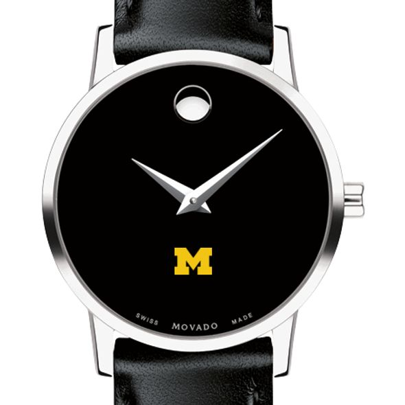 University of Michigan Women's Movado Museum with Leather Strap
