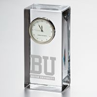 Boston University Tall Glass Desk Clock by Simon Pearce