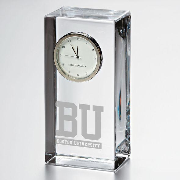 Boston University Tall Glass Desk Clock by Simon Pearce
