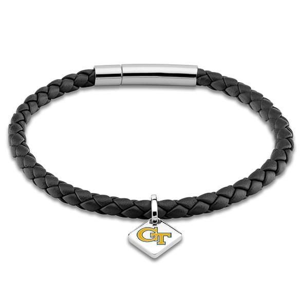 Georgia Tech Leather Bracelet w/ Sterling Silver Tag - Black - Image 1
