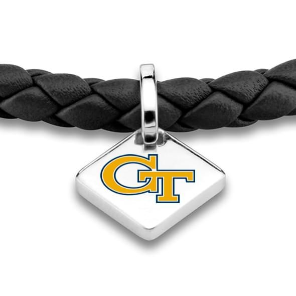 Georgia Tech Leather Bracelet w/ Sterling Silver Tag - Black - Image 2