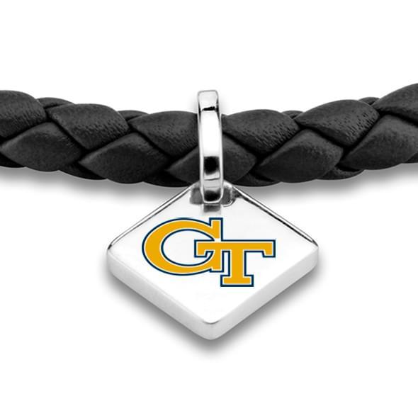 Georgia Tech Leather Bracelet w/ Sterling Silver Tag - Black - Image 2