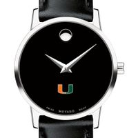 University of Miami Women's Movado Museum with Leather Strap