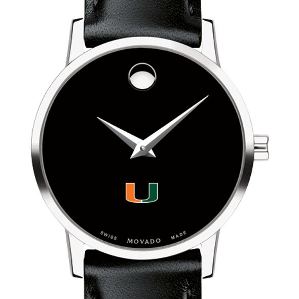 University of Miami Women's Movado Museum with Leather Strap - Image 1