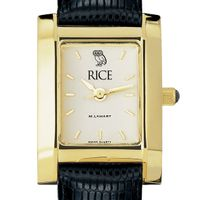 Rice University Women's Gold Quad with Leather Strap