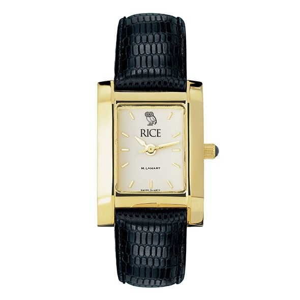 Rice University Women's Gold Quad with Leather Strap - Image 2