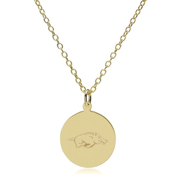 University of Arkansas 14K Gold Pendant & Chain - Image 2
