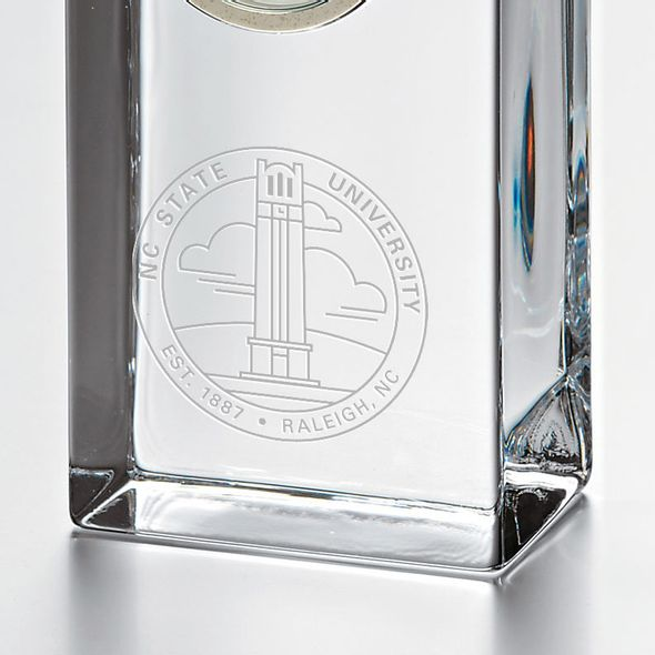 NC State Tall Glass Desk Clock by Simon Pearce - Image 2