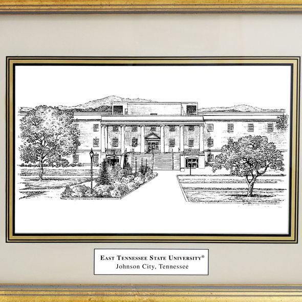 East Tennessee State University Black Ink Gold Frame - Image 2
