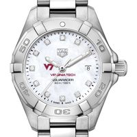 Virginia Tech Women's TAG Heuer Steel Aquaracer with MOP Diamond Dial