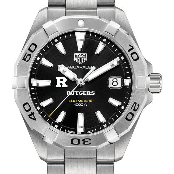 Rutgers University Men's TAG Heuer Steel Aquaracer with Black Dial