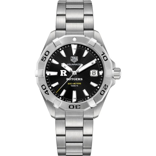 Rutgers University Men's TAG Heuer Steel Aquaracer with Black Dial - Image 2