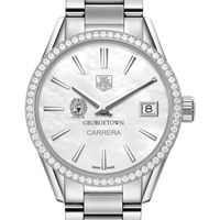 Georgetown University Women's TAG Heuer Steel Carrera with MOP Dial & Diamond Bezel