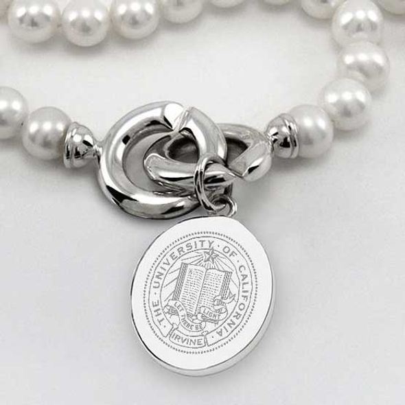 UC Irvine Pearl Necklace with Sterling Silver Charm - Image 2