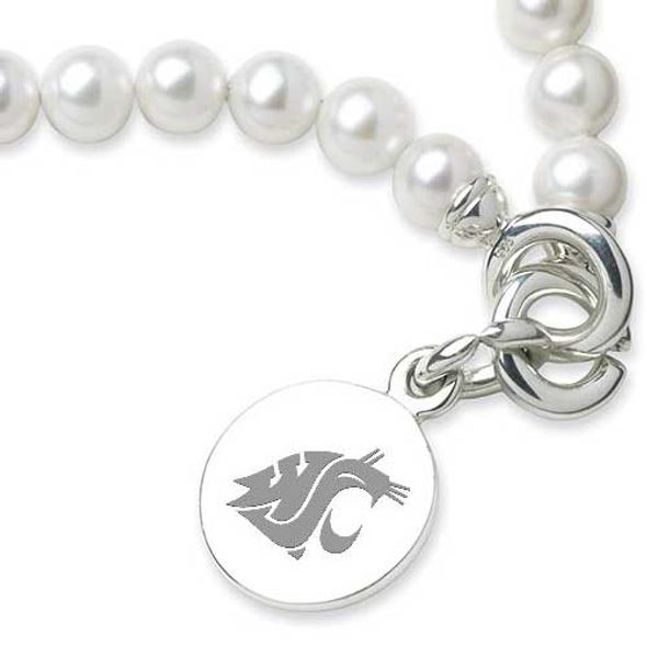 Washington State University Pearl Bracelet with Sterling Silver Charm - Image 2