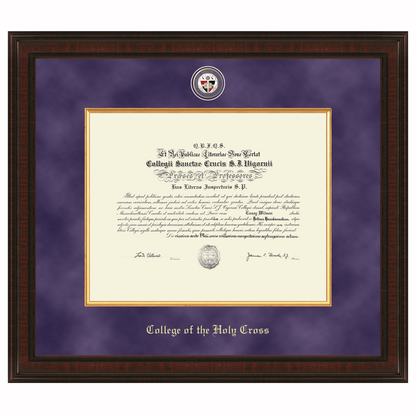 Holy Cross Diploma Frame Excelsior Graduation Gift