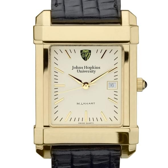 Johns Hopkins Men's Gold Quad Watch with Leather Strap