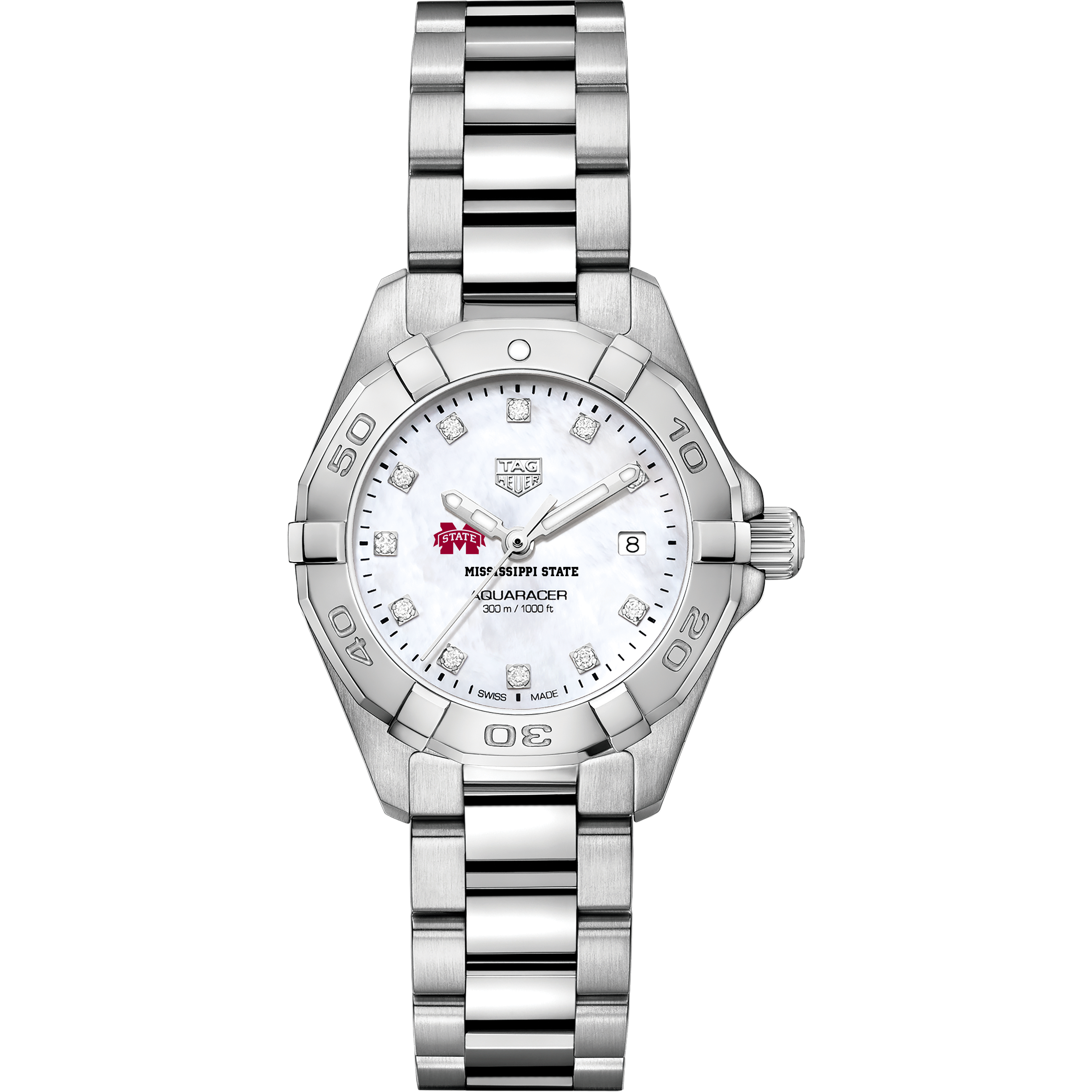 Mississippi State Women's TAG Heuer Steel Aquaracer with MOP Diamond Dial - Image 2