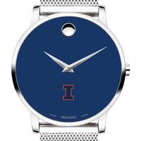University of Illinois Men's Movado Museum with Blue Dial & Mesh Bracelet