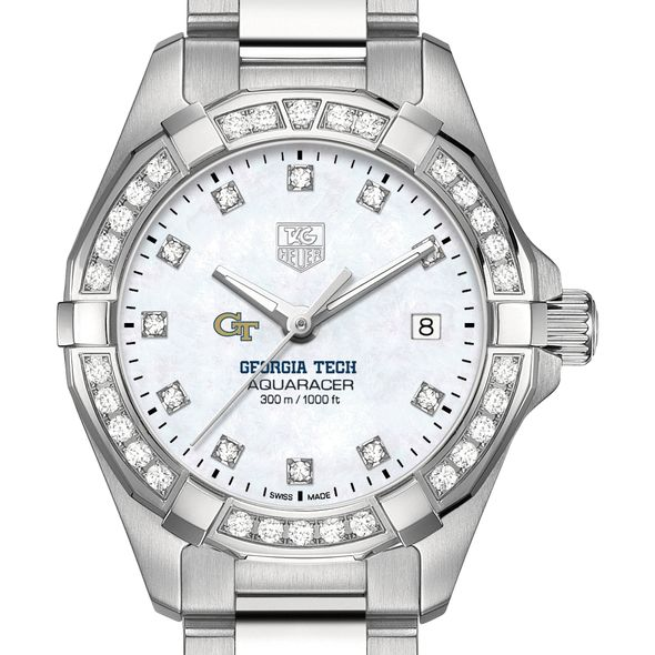 Georgia Tech W's TAG Heuer Steel Aquaracer with MOP Dia Dial & Bezel