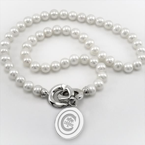 Clemson Pearl Necklace with Sterling Silver Charm