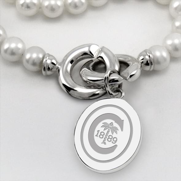 Clemson Pearl Necklace with Sterling Silver Charm - Image 2