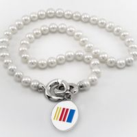 NASCAR Pearl Necklace and Sterling Silver Charm with Enamel