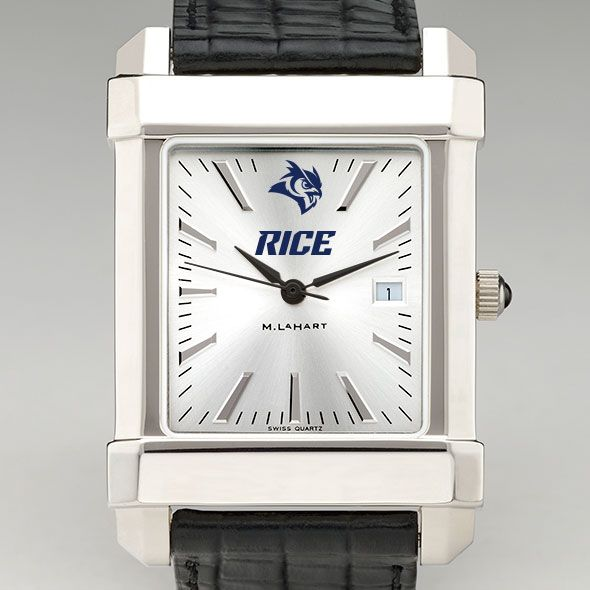 Rice University Men's Collegiate Watch with Leather Strap