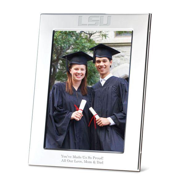 Louisiana State University Polished Pewter 5x7 Picture Frame - Image 1