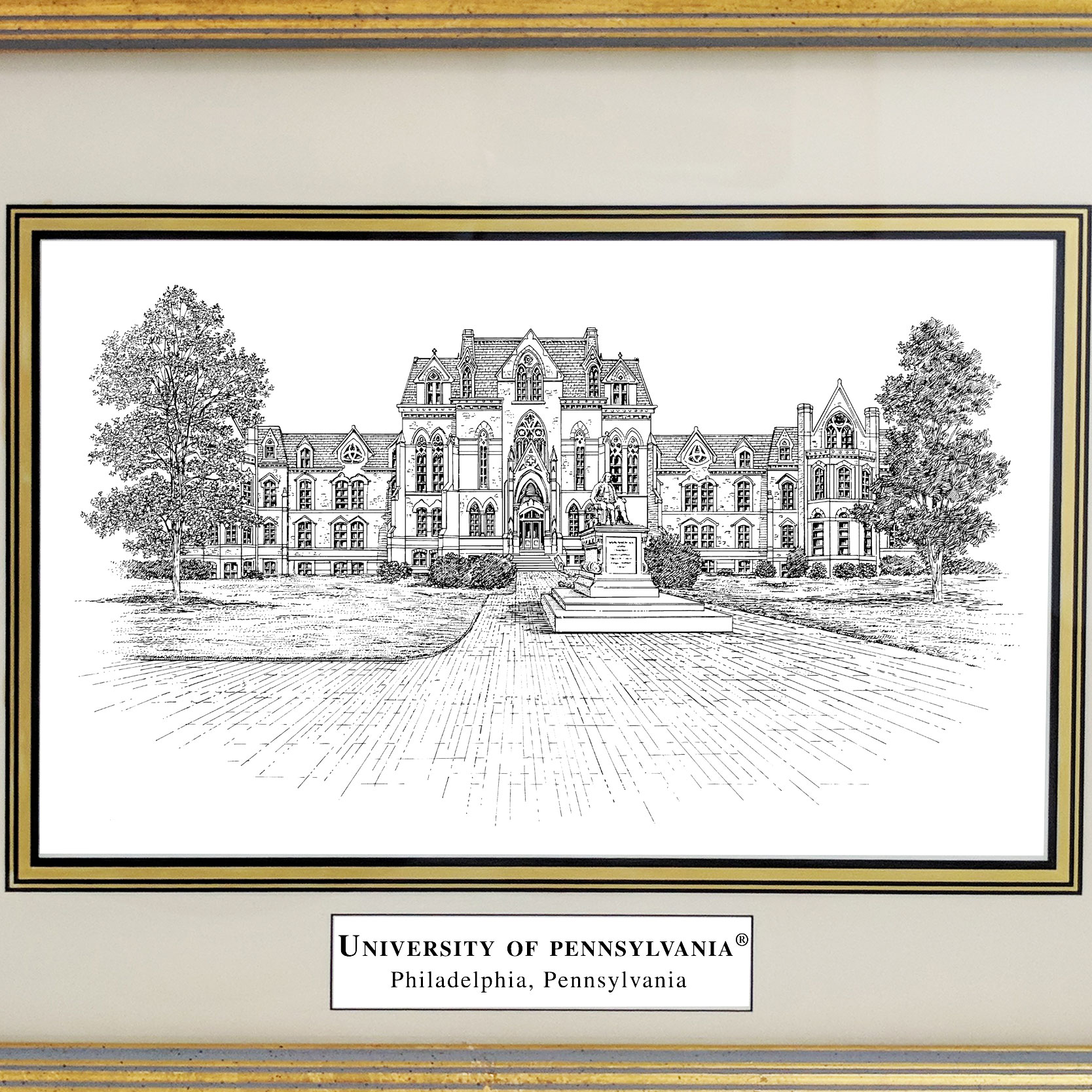 Framed Pen and Ink University of Pennsylvania Print - Image 2