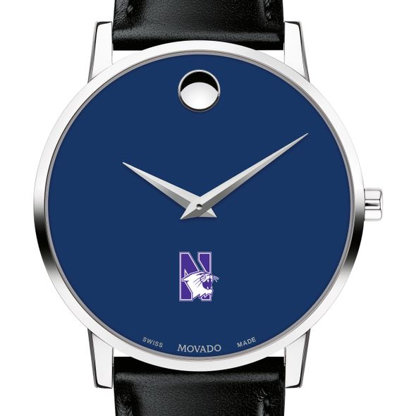 Northwestern University Men's Movado Museum with Blue Dial & Leather Strap