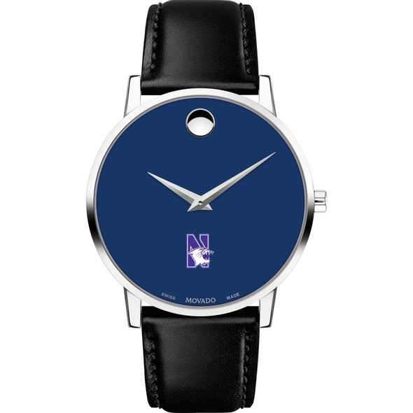 Northwestern University Men's Movado Museum with Blue Dial & Leather Strap - Image 2